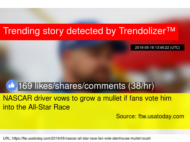 Nascar Driver Vows To Grow A Mullet If Fans Vote Him Into